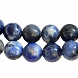 Fil de 61 perles rondes 6mm 6 mm en sodalite bleu