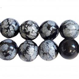 Fil de 48 perles rondes 8mm 8 mm en obsidienne flocons de neige mouchetée