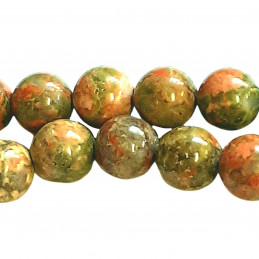 Fil de 60 perles rondes 6mm 6 mm en unakite épidote