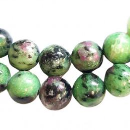 Fil de 62 perles rondes 6mm 6 mm en rubis dans zoisite zoizite teinté