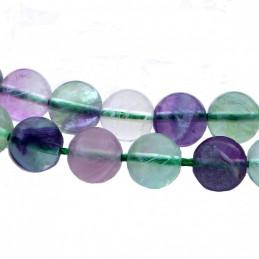 Fil de 90 perles rondes 4mm 4 mm en fluorite arc en ciel vert