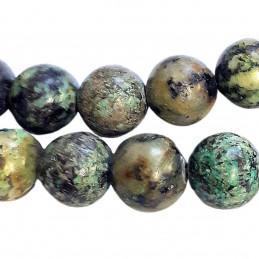 Fil de 54 perles rondes 6mm 6 mm en turquoise africaine tachetée