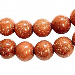 Fil de 95 perles rondes 4mm 4 mm en Pierre soleil rouge pailleté synthétique goldstone