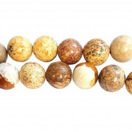 Fil de 44 perles rondes 8mm 8 mm en jaspe paysage