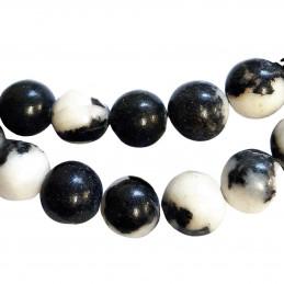Fil de 82 perles rondes 4mm 4 mm en jaspe zèbre blanc et noir