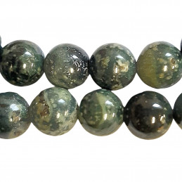 Fil de 48 perles rondes 8mm 8 mm en jaspe vert kambaba