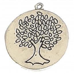 Grande breloque pendentif médaille gris noir arbre de vie 3cm