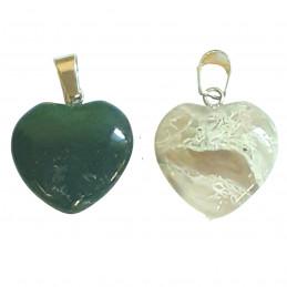 Grand pendentif coeur en agate aquatique verte mousse + chaine 2cm