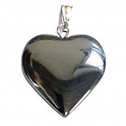 Grand pendentif coeur en hématite + chaine 2cm