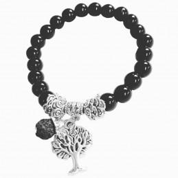 Bracelet élastique breloques arbre de vie en perles d'onyx noire