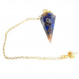 Pendule à facettes en résine, ressort et chips de lapis lazuli neuf