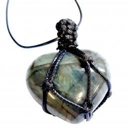 Pendentif coeur wrap en labradorite avec reflets fil noir enroulé
