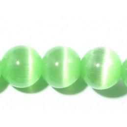 Fil de 66 perles rondes oeil de chat 6mm 6 mm vert pastel