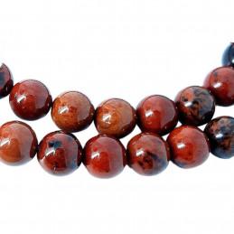 Fil de 56 perles rondes 6mm 6 mm en obsidienne rouge acajou mahogany