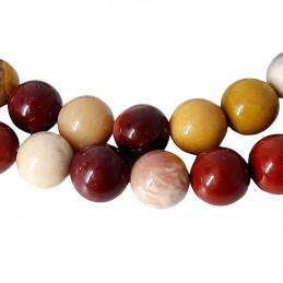 Fil de 57 perles rondes 6mm 6 mm en jaspe mokaite rouge marron