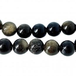Fil de 44 perles rondes 8mm 8 mm en obsidienne noire dorée