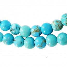 Fil de 64 perles rondes 6mm 6 mm en howlite turquoise teintée