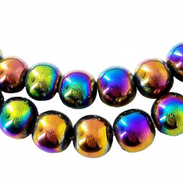 Fil de 95 perles rondes 4mm 4 mm en hématite arc en ciel