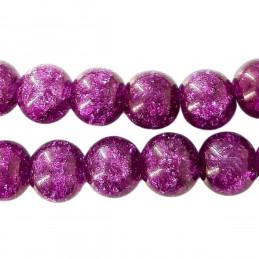 Fil de 62 perles rondes 6mm 6 mm en cristal de roche craquelés violet foncé prune