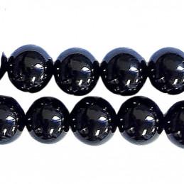 Fil de 48 perles rondes 8mm 8 mm en tourmaline noire
