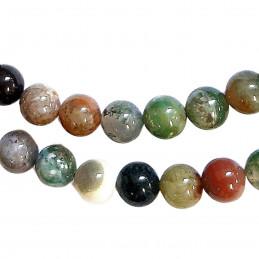 Fil de 84 perles rondes 4mm 4 mm en agate indienne vert
