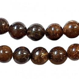 Fil de 46 perles rondes 8mm 8 mm en bronzite