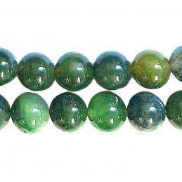 Fil de 46 perles rondes 8mm 8 mm en agate aquatique vert moss