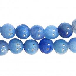 Fil de 46 perles rondes 8mm 8 mm en Aventurine bleue