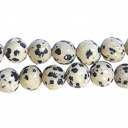 Fil de 42 perles rondes 4mm 4 mm en Jaspe dalmatien