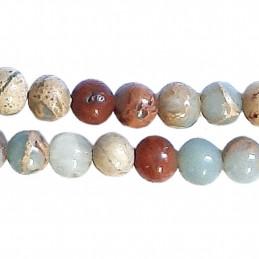 Fil de 60 perles rondes 6mm 6 mm en jaspe aqua terra bleu