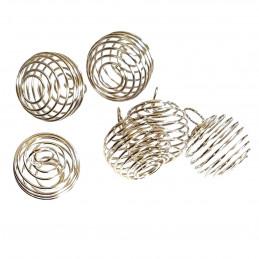 5 X grandes Cages à pierre ou boules ressort pour pendentif ou perles argenté fonçé  2cm