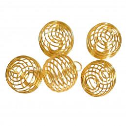 5 X grandes Cages à pierre ou boules ressort pour pendentif ou perles doré 2cm