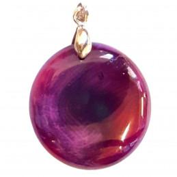 Pendentif médaille ronde en agate violet prune rayée - 3cm + chaine
