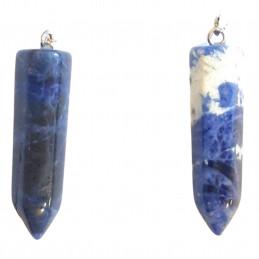 Pendentif pointe hexagonale de sodalite bleu marbré + chaine