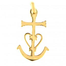 Pendentif Croix de Camargue Ancre en plaqué or