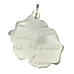 Pendentif carte de l' Ile de la Réunion en Argent 925°/00 + chaîne