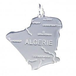 Pendentif carte de l' Algérie en argent 925°/00 + chaîne