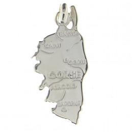 Pendentif carte de la Corse Ile de Beauté en argent 925°/00 + chaîne