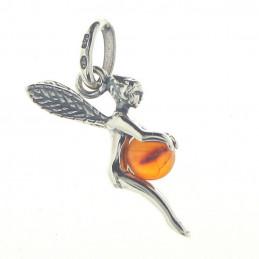 Pendentif Fée clochette et sa perle en ambre en argent + chaine