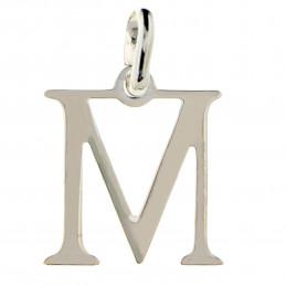 Pendentif Initiale simple lettre M en argent 925°/00