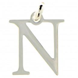 Pendentif Initiale simple lettre N en argent 925°/00