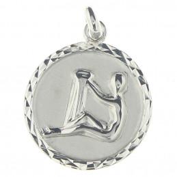 Pendentif médaille astrologique zodiaque Verseau en argent + chaine