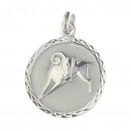 Pendentif médaille astrologique zodiaque Bélier en argent + chaine