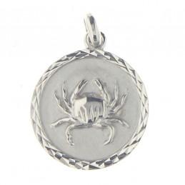 Pendentif médaille astrologique zodiaque Cancer en argent + chaine