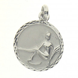 Pendentif médaille astrologique zodiaque Vierge en argent + chaine