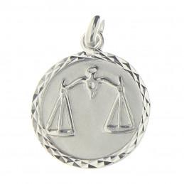 Pendentif médaille astrologique zodiaque Balance en argent + chaine