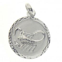 Pendentif médaille astrologique zodiaque scorpion en argent + chaine