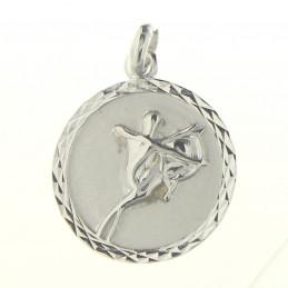 Pendentif médaille astrologique zodiaque Sagittaire en argent + chaine
