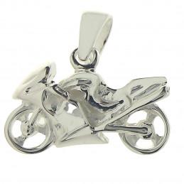 Pendentif petite moto de Course en argent 925°/00 + chaîne