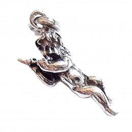Pendentif Ange Cupidon jouant de la flûte en argent + chaine